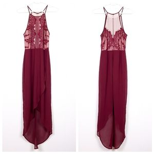 Lulu's Happy As Can Be Wine Red Lace halter dress